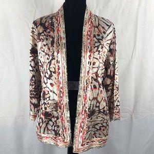 Chico's Silk Blend Open Kimono Jacket Sz 1